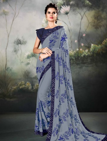 Ultimate Grey Georgette Thread and Border Work Designer Saree