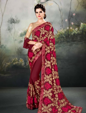 Pretty Maroon Georgette Thread and Border Work Designer Saree