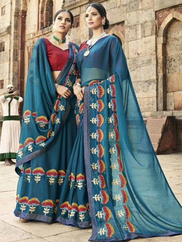 Beautiful Blue Chiffon Thread and Border Work Designer Saree