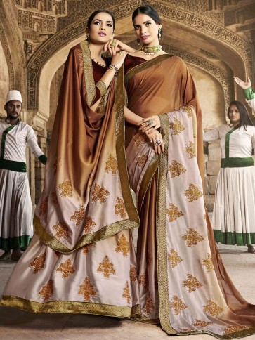 Excellent Brown Georgette Thread and Border Work Designer Saree