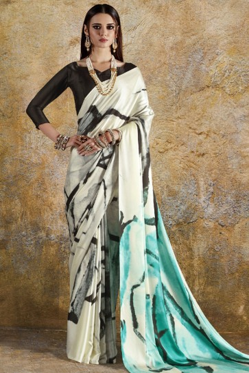 Pretty Off White and Blue Crepe and Satin Printed Casual Saree