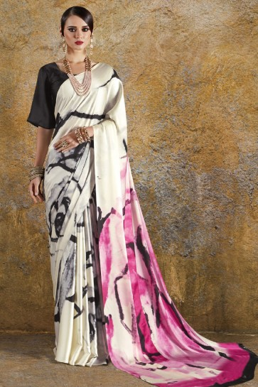Graceful Off White and Orange Crepe and Satin Printed Casual Saree