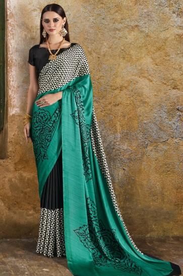 Lovely Teal Crepe and Satin Printed Casual Saree