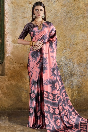 Gorgeous Peach Crepe and Satin Printed Casual Saree