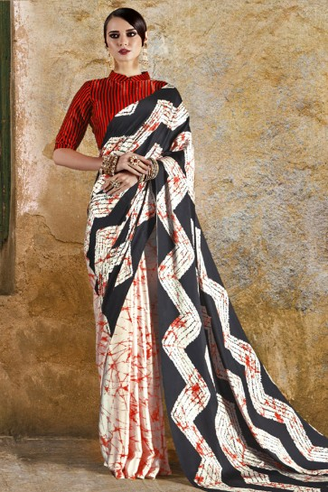 Charming Off White and Red Crepe and Satin Printed Casual Saree