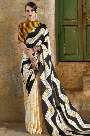 Graceful Off White and Yellow Crepe and Satin Printed Casual Saree