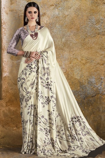 Excellent Off White Crepe and Satin Casual Printed Saree