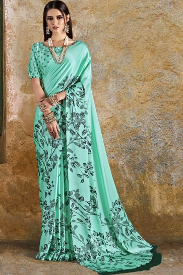 Ultimate Turquoise Crepe and Satin Printed Casual Saree