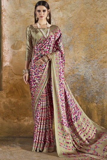 Beautiful Beige and Pink Crepe and Satin Printed Casual Saree