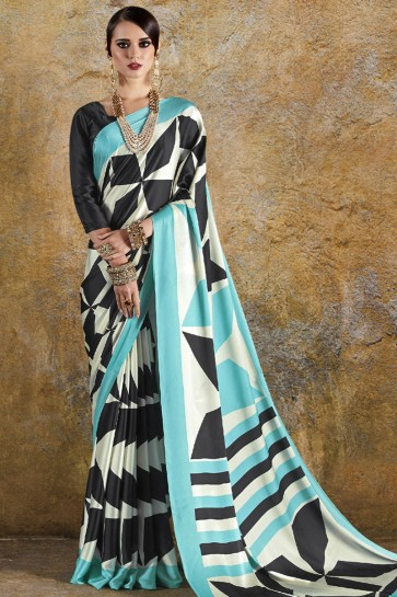Desirable Sky Blue and Blue Crepe and Satin Printed Casual Saree