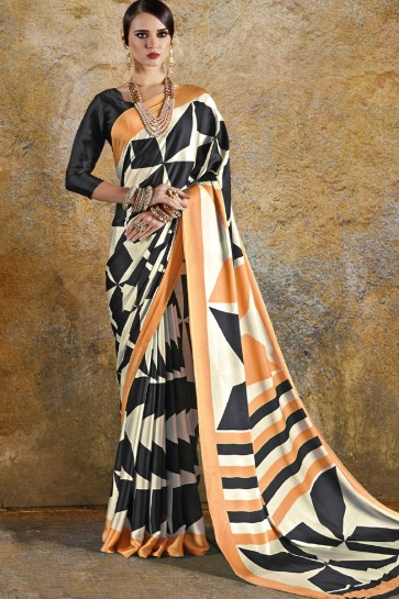 Supreme Orange and Black Crepe and Satin Printed Casual Saree