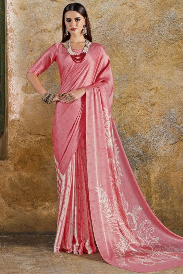 Graceful Peach Crepe and Satin Printed Casual Saree