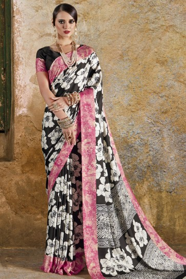 Stylish Black and Pink Crepe and Satin Printed Casual Saree