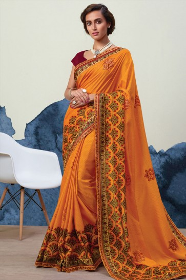 Beautiful Mustard Georgette Printed Casual Saree