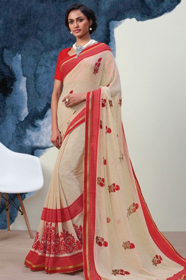 Lovely Beige Georgette Printed Casual Saree