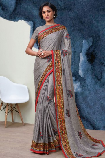 Admirable Grey Georgette Printed Casual Saree