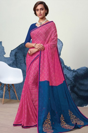 Desirable Pink Georgette Printed Casual Saree