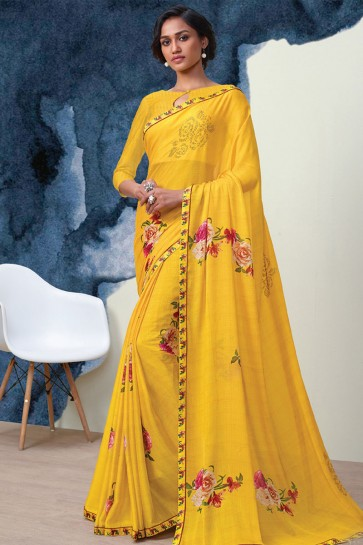 Graceful Yellow Georgette Printed Casual Saree