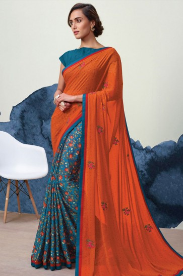 Pretty Orange and Blue Georgette Printed Casual Saree