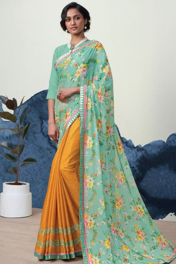 Stylish Teal and Mustard Georgette Casual Printed Saree