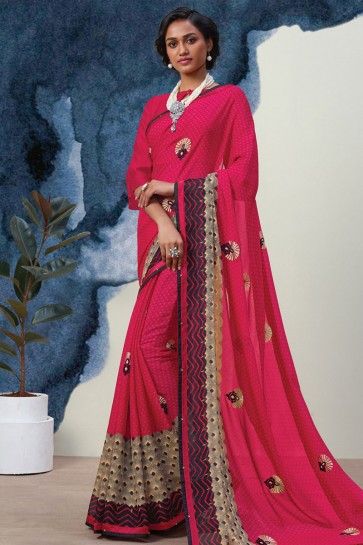 Classic Pink Georgette Casual Printed Saree