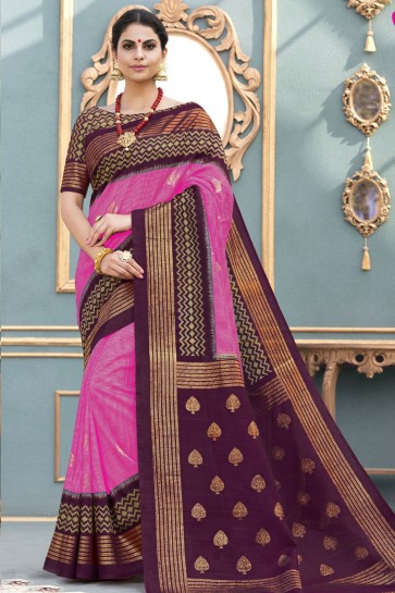 Beautiful Magenta Bhagalpuri Silk Printed Designer Saree