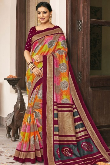Graceful Maroon Bhagalpuri Silk Printed Designer Saree