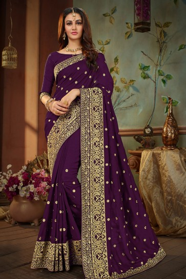 Gorgeous Violet Silk Embroidered Designer Saree With Banglori Silk Blouse
