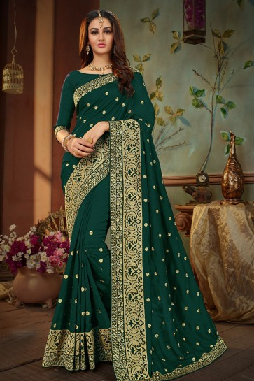 Lovely Green Silk Embroidered Designer Saree With Banglori Silk Blouse