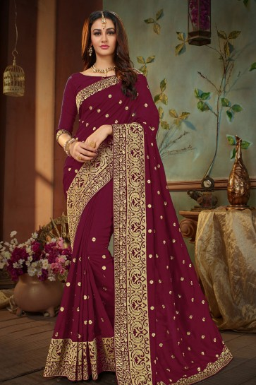 Ultimate Maroon Silk Embroidered Designer Saree With Banglori Silk Blouse