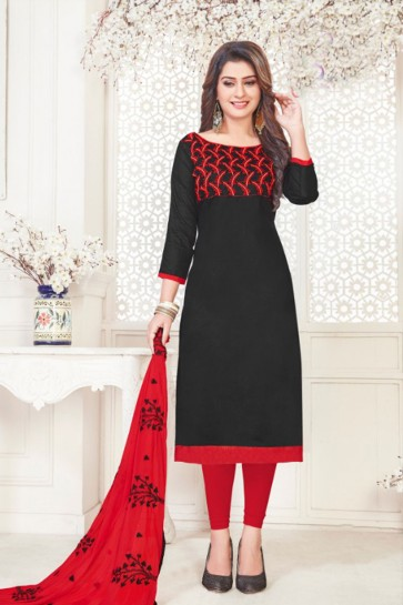 Desirable Black Cotton Embroidered Casual Salwar Suit With Nazmin Dupatta
