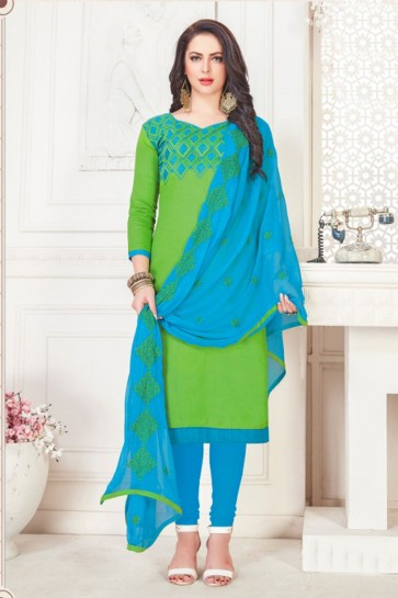 Beautiful Green Cotton Embroidered Casual Salwar Suit With Nazmin Dupatta