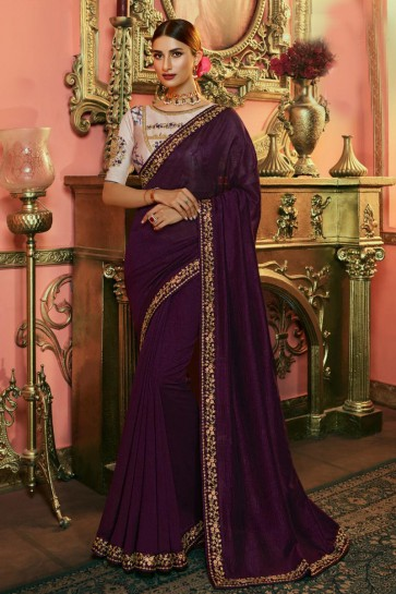 Classy Embroidered Wine Silk Saree And Blouse