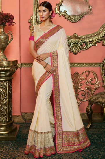 Ultimate Off White Embroidered Silk Saree And Blouse