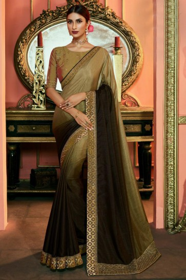 Pleasing Beige And Coffee Embroidered Silk Saree And Blouse