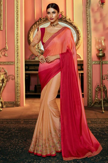 Elegant Multi Color Embroidered Silk Saree And Blouse