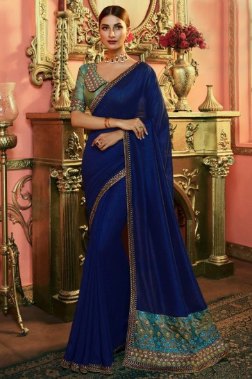Delicate Royal Blue Embroidered Silk Saree And Blouse