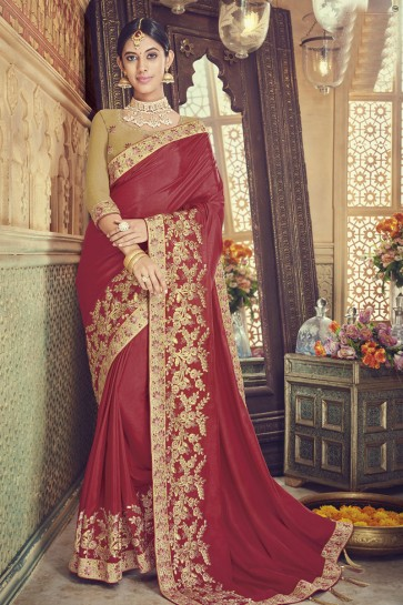 Optimum Maroon Silk Embroidered Saree With Banglori Silk Blouse