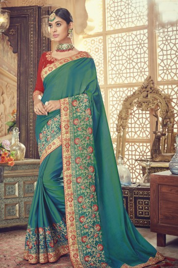 Gorgeous Green Silk Embroidered Saree With Banglori Silk Blouse