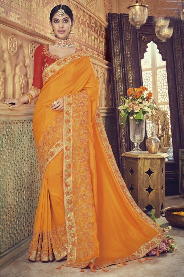 Lovely Orange Silk Embroidered Saree With Banglori Silk Blouse