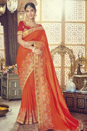 Graceful Orange Silk Embroidered Saree With Banglori Silk Blouse