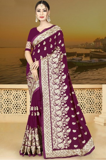 Beautiful Purple Silk Embroidered Saree With Silk Blouse