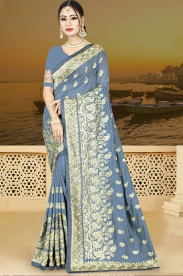 Lovely Grey Silk Embroidered Saree With Silk Blouse
