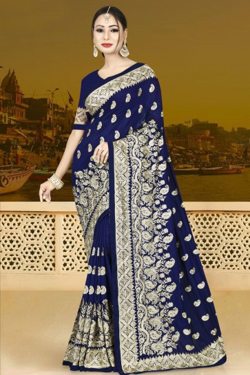 Pretty Navy Blue Silk Embroidered Saree With Silk Blouse