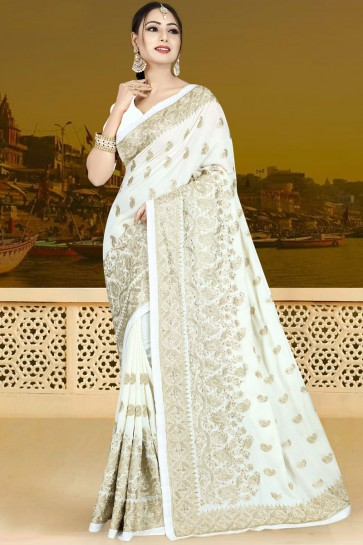 Admirable White Silk Embroidered Saree With Silk Blouse