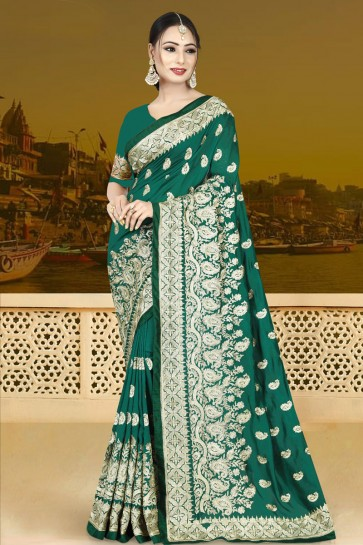Supreme Green Silk Embroidered Saree With Silk Blouse