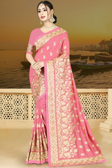 Optimum Pink Silk Embroidered Saree With Silk Blouse