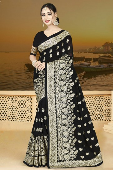 Desirable Black Silk Embroidered Saree With Silk Blouse