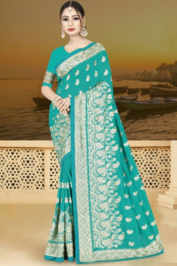 Classic Turquoise Silk Embroidered Saree With Silk Blouse