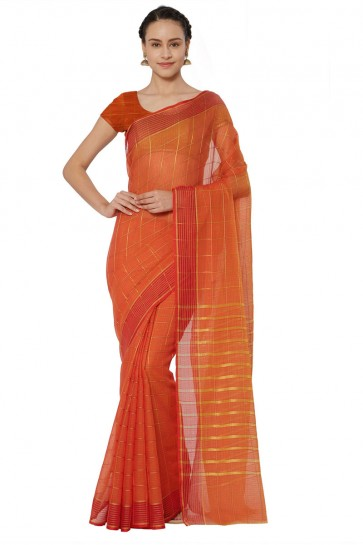 Stylish Orange Cotton and Silk Printed Casual Saree With Cotton and Silk Blouse